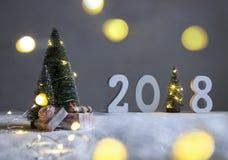 En campo debajo de los abetos, y en la distancia están los cuadros 2018 donde en el papel de un árbol de navidad con las luces Fotos de archivo libres de regalías