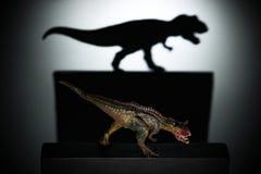 En carnotaurus som gjuter en tyrannosarieskugga i mörkt begrepp av styrka & ambitioner Royaltyfri Bild