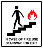 En cas d'escalier d'utilisation du feu pour le signe de sortie Symbole de vecteur Image libre de droits