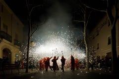 En Cataluña de Correfocs imágenes de archivo libres de regalías