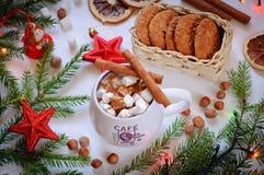 En celebratory drink av kakao eller kaffe med marshmallowen och kanel Royaltyfria Bilder