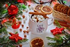 En celebratory drink av kakao eller kaffe med marshmallowen och kanel Arkivfoto