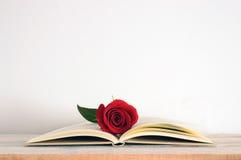 En centrerad öppen bok med en röd rosblomma på den royaltyfri fotografi