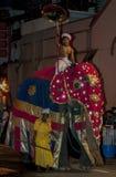 En ceremoniell elefant ståtar ner en gata i Kandy under Esalaen Perahera i Sri Lanka Royaltyfria Foton