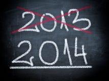 2014 en chalboard Imagen de archivo libre de regalías