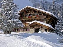 En Chalet i alpsna Arkivfoton