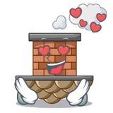 En chimenea miniatura del ladrillo de la historieta del amor sobre la tabla ilustración del vector