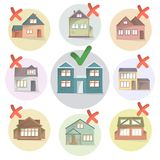 En choisissant la maison droite pour vivre, comparez les différentes maisons et la propriété, faisant une maison de choix, choisi illustration libre de droits