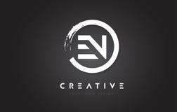 EN Circular Letter Logo with Circle Brush Design and Black Backg Stock Images