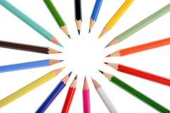 En cirkel av färgläggningfärgpennor Royaltyfria Foton