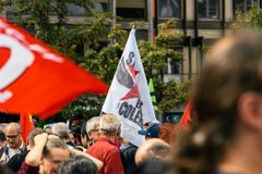 EN colere Στρασβούργο Strabourg στη σημαία διαμαρτυρίας Στοκ φωτογραφία με δικαίωμα ελεύθερης χρήσης
