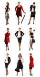 En collage av affärskvinnor i olik kläder arkivbild