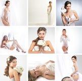 En collage av avbildar med brudar i bröllopsklänningar Arkivfoton