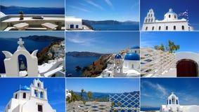 En collage av bilder av Oia på den Santorini ön på en ljus solig dag De härliga vita byggnaderna och det ljusa blåa havet arkivfoton