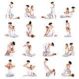 En collage av bilder med kvinnor på thailändsk massage royaltyfri foto