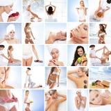 En collage av bilder med unga kvinnor i brunnsort fotografering för bildbyråer