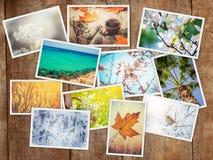 En collage av fotografier är säsongerna royaltyfri fotografi