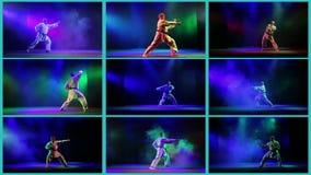 En collage av karatetekniker på en kulör bakgrund lager videofilmer