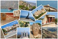 En collage av Kretaön, Grekland Arkivfoto