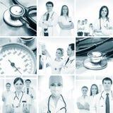 En collage av läkarundersökningen avbildar med barn manipulerar Arkivfoto