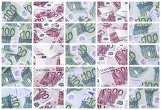 En collage av många bilder av hundratals dollar och euroräkningar l arkivbild