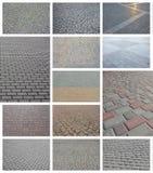 En collage av många bilder med fragment av att stenlägga nära tegelplattor royaltyfri bild