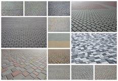 En collage av många bilder med fragment av att stenlägga nära tegelplattor royaltyfri foto