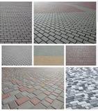 En collage av många bilder med fragment av att stenlägga nära tegelplattor royaltyfri fotografi