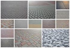 En collage av många bilder med fragment av att stenlägga nära tegelplattor arkivbild