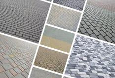 En collage av många bilder med fragment av att stenlägga nära tegelplattor fotografering för bildbyråer