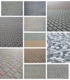 En collage av många bilder med fragment av att stenlägga nära tegelplattor royaltyfria foton