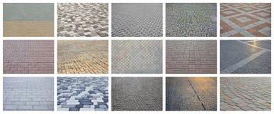 En collage av många bilder med fragment av att stenlägga nära tegelplattor arkivfoton
