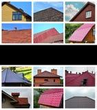 En collage av många bilder med fragment av olika typer av ro royaltyfri fotografi