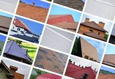 En collage av många bilder med fragment av olika typer av ro arkivfoton