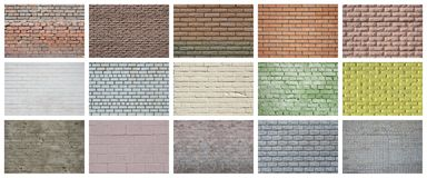 En collage av många bilder med fragment av tegelstenväggar av diff royaltyfri bild
