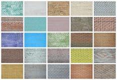 En collage av många bilder med fragment av tegelstenväggar av diff fotografering för bildbyråer