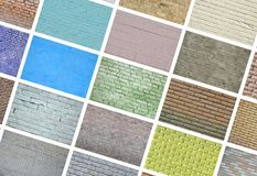 En collage av många bilder med fragment av tegelstenväggar av diff royaltyfri fotografi