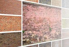 En collage av många bilder med fragment av tegelstenväggar av diff arkivbild