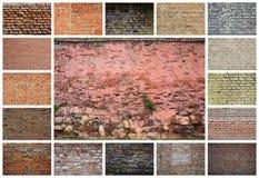 En collage av många bilder med fragment av tegelstenväggar av diff royaltyfri foto