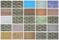En collage av många bilder med fragment av tegelstenväggar av diff arkivbilder