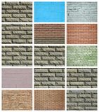 En collage av många bilder med fragment av tegelstenväggar av diff arkivfoton