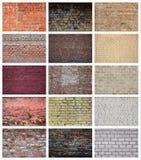 En collage av många bilder med fragment av tegelstenväggar av diff royaltyfria bilder