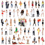 En collage av många olikt folk som poserar i kläder Royaltyfri Foto