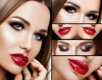En collage av makeup Härliga rökiga ögon, röda fylliga kanter, långa ögonfrans Ståendeframsidacloseup, detaljmakeup, med Royaltyfri Fotografi