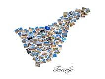 En collage av mina bästa loppfoto av Tenerife som bildar formen av den Tenerife ön, version 1 Fotografering för Bildbyråer