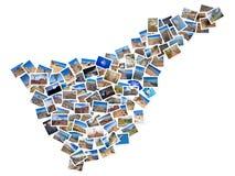 En collage av mina bästa loppfoto av Tenerife som bildar formen av den Tenerife ön, version 1 Royaltyfri Bild
