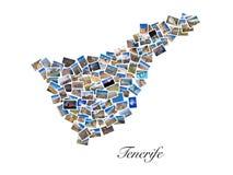 En collage av mina bästa loppfoto av Tenerife som bildar formen av den Tenerife ön, version 2 Royaltyfria Foton
