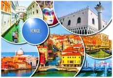 En collage av några bilder av olika lägen i Venedig, Italien, liksom små kanaler, royaltyfri bild