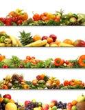 En collage av nya och smakliga frukter och grönsaker royaltyfri fotografi