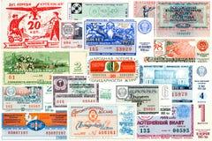 En collage av statliga lottsedlar USSR Royaltyfria Foton